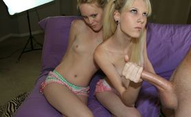 Two Sisters Jerking Cock