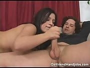 Handjob from a Cute Brunette