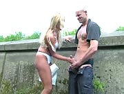 Outdoor Handjob from a Angry German GF