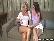 Huge Cumshot While Watching Two Lesbians