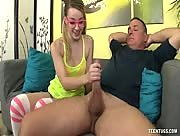 Young Girl In Glasses Alexia Gold Jerks Uncle Bob