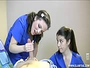 Two Nurses Milk Their Patient