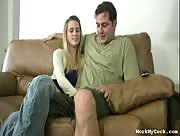Couple Jerk Session on Couch