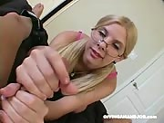 Nerd In Glasses gets Tricked into giving a handjob
