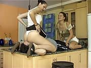 Freaky Euro Girls Punish Slave