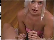 Dirty Talking Blonde Gives Awesome Handjob!