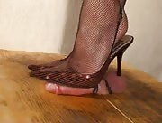 Brown Slingbacks Rub Cock