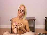 Blonde teen in glasses POV
