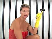 Tall Muscle babe Gives Gloved Handjob