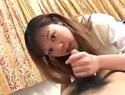 Hot asian plays with herself and a lucky guy