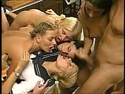 Four girls take care of two men