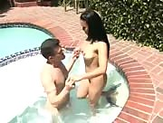 Asian Chink Handjob By Pool