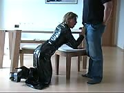 Chick in latex dress and heels sucks and jerks one lucky guy