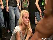 Cute Blonde Handjobbing In Public