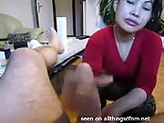 MILF Asian Gives a Happy Ending Handjob