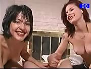 Two hot chicks go to town on one lucky guy
