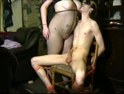 BBW dom dominates her sub and jerks him off
