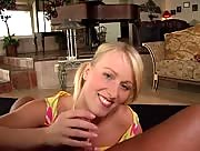 Cute blonde amateur gives a great handjob POV