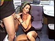 Hot amateur secretary ends up blowing and jerking off her boss