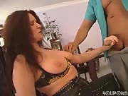 Busty Milf Jerking A Latin Guy