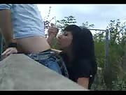 Horny Bitch Sucks A Dick Outdoors