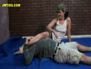 Wrestling Handjob with GI Jane
