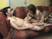 Amateur Hubby and Wife Handjob At Home