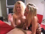 Two Sexy Blondes Tag Team One Dick