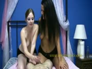 Humiliation Handjob With Two Sexy Girls