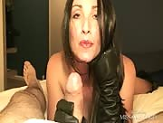 Nice Satin Gloves Handjob With Milf