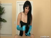 Satin Gloves Handjob with Big Dick