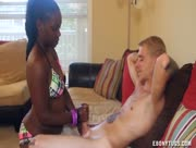 Ebony Cutie Is Milking The White Guy