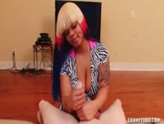 Busty Ebony Ya Ya Banxxx With Multi-colored Hair Color Jerks A Cock
