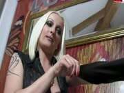 Blonde Madam Handjob Wetlook with latex Gloves