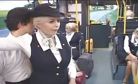 Unsuspecting Big Boob Flight Attendant Jerks Off Man in Public