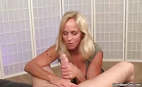 Sexy Blonde Older MILF Jerking a Big Dick