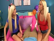Vanessa Cage and Elaina Raye, handjob as a birthday present!