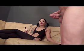 Guy gets chance to jerk off for asian mean girl