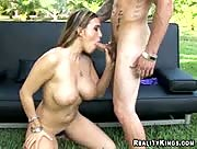 Megan with her hairy bush is giving a BJ getting fucked mount missionary and doggie style.