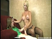 Stunning MILF Mom Sierra Luv Handjob With Giant Sized Dick
