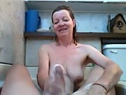 Old granny gives handjob in bathtub