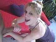 Blonde Sweetie Jerking her BF