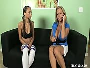 Amber Bach and Geirgia Cream Wank and Suck large Sized Cock
