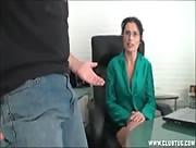Milf handjob at the office
