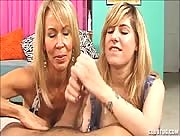 Mother Daughter Jerking Lesson For The Cute Teen
