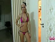 Petite Blonde Tricky Handjob