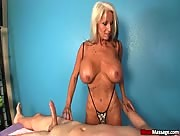 FIERCE Handjob massage from Gigantic boobed granny