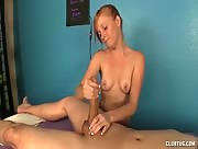 Petite teen Alyssa Hart handles a big monster cock at the massage table