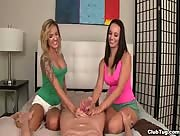 Lexi Luna and Regan Lush Tag Team Jerking and Handjob