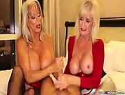 2 Big Boob Grannies Cock Milking and Stroking